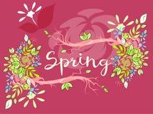 Красивая литерность вектора на весеннем сезоне Стоковое Изображение
