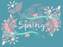 Красивая литерность вектора на весеннем сезоне Стоковое Изображение RF