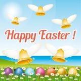 Красивая и красочная счастливая поздравительная открытка III пасхи с пасхальными яйцами и колоколами иллюстрация вектора