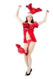 Красивая и сексуальная женщина рождества с помадками стоковые фотографии rf