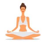 Красивая иллюстрация девушки йоги Стоковые Изображения RF