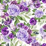 Красивая картина акварели с цветками подняла и лилия, евкалипт выходит Стоковые Изображения RF