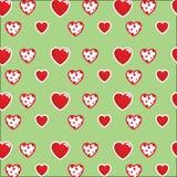 Красивая картина: бело-красные сердца на яркой салатовой покрашенной предпосылке Для тканей, ткани иллюстрация штока