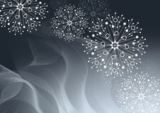 Красивая картина зимы сделанная из снежинок на серой предпосылке иллюстрация штока