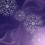 Красивая картина зимы сделанная из снежинок на фиолетовой предпосылке иллюстрация штока