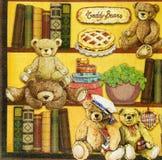 Красивая картина плюшевых медвежоат на салфетке Стоковые Фотографии RF