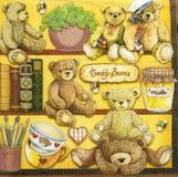 Красивая картина плюшевых медвежоат на салфетке Стоковые Изображения