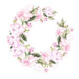 Красивая карточка акварели с пионом, розами цветет Стоковое Изображение