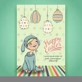 Красивая карточка пасхи с младенцем в костюме зайчика Стоковые Изображения RF