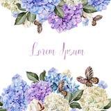 Красивая карточка свадьбы, приглашение с hudrangea и хлопок Стоковая Фотография RF
