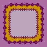 Красивая карточка с родными орнаментами зигзага Квадратная рамка для вашего текста Вручите вычерченный шаблон знамени с этническо бесплатная иллюстрация