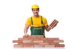 Красивая кирпичная стена здания рабочий-строителя Стоковое Фото