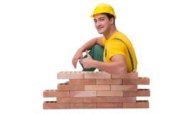 Красивая кирпичная стена здания рабочий-строителя Стоковое Изображение RF