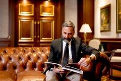 Красивая книга чтения бизнесмена на софе Стоковые Изображения RF