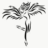 Красивая, который подогнали молодая дама, грациозно движение иллюстрация вектора