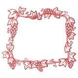 Красивая красная богато украшенная рамка, с картинами виноградины, силуэт-притяжка бесплатная иллюстрация