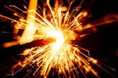 Красивая красная свеча бенгальского огня Стоковая Фотография RF