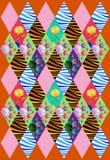 Красивая крышка заплатки от заплат косоугольника с цветками и волнами Стоковое фото RF
