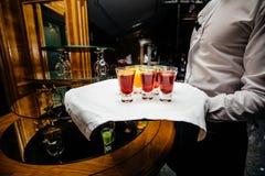 Красивая линия строки различных покрашенных коктеилей спирта на p Стоковые Фото