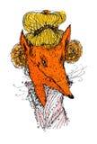 Красивая лиса с золотыми волосами Соответствующий для футболок и моды иллюстрация штока