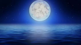 Красивая луна на море, предпосылка самой лучшей петли видео- для ослаблять и утихомиривать акции видеоматериалы