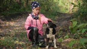 Красивая маленькая девочка вместе с собакой в красивом парке осени солнечная погода конец вверх outdoors акции видеоматериалы