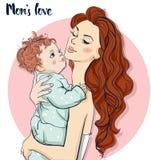 Красивая мама с ребенком Стоковое Изображение