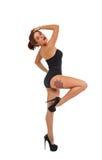 Красивая маленькая девочка на тренировке фитнеса Стоковая Фотография RF