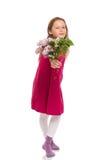 Красивая маленькая девочка с цветками сирени Стоковые Фотографии RF