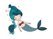 Красивая маленькая русалка и черепаха иллюстрация штока
