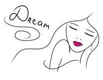 Красивая мечтая девушка doodle Стоковые Фото