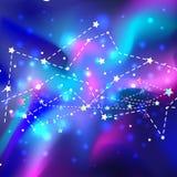 Красивая мистическая галактика Предпосылка вектора космическая конспект против космоса портрета предпосылок женского наружного бесплатная иллюстрация