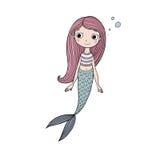Красивая милая русалка шаржа с длинными волосами сирена абстрактная тема моря предпосылки абстракции Стоковые Изображения RF