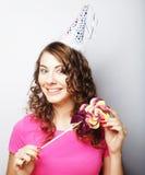 Красивая модель женщины партии с леденцом на палочке Стоковая Фотография RF