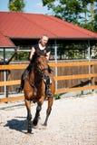 Красивая молодая белокурая женщина ехать лошадь Стоковое Фото