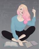 красивая молодая девушка моды пишет workbook в ее комнате иллюстрация вектора