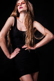 Красивая молодая женская сторона с составом яркой моды пестротканым. Стоковое Изображение RF