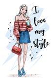 Красивая молодая женщина белокурых волос Стильная девушка в одеждах моды Нарисованная рукой женщина моды эскиз иллюстрация штока