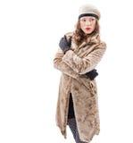 Красивая молодая женщина в пальто Стоковое Изображение