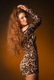 Красивая молодая женщина в платье леопарда Стоковое фото RF