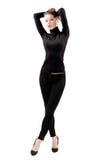 Красивая молодая женщина в черноте Стоковые Фотографии RF