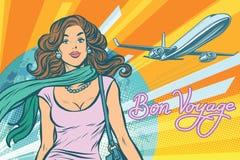 Красивая молодая женщина на авиапорте иллюстрация вектора