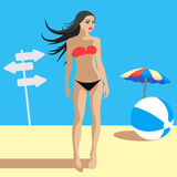 Красивая молодая женщина на пляже лета, иллюстрации вектора иллюстрация вектора