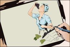 Красивая молодая женщина собирает и ест виноградины Люди в ретро бесплатная иллюстрация