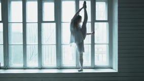 Красивая молодая женщина стоит против большого деревянного окна поднимая ее высокую ногу показывая протягивать Балерина сток-видео