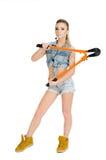 Красивая молодая женщина с инструментом для нарезания болтов Стоковые Изображения