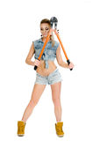 Красивая молодая женщина с инструментом для нарезания болтов Стоковое Изображение RF