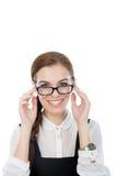 Красивая молодая женщина с стеклами Стоковые Фото