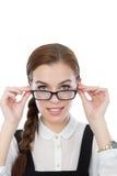 Красивая молодая женщина с стеклами Стоковая Фотография RF