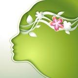 Красивая молодая женщина с цветками в волосах иллюстрация штока